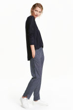 Crêpe trousers - Dark blue/White patterned - Ladies | H&M CN 1