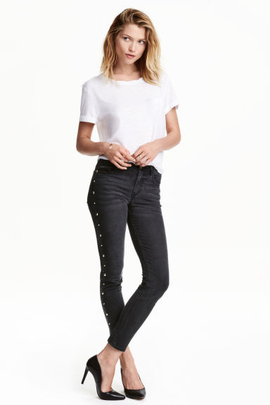 Slim Regular Ankle Jeans - Nearly black - MUJER | H&M ES