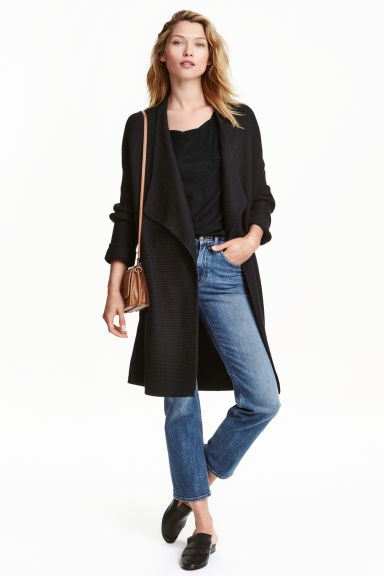 Textured-knit cardigan - Black -  | H&M CN 1