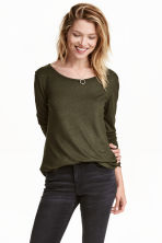 Jersey top - Dark khaki green - Ladies | H&M CN 1