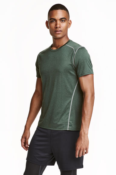 Short-sleeved sports top - Khaki green marl - Men | H&M CN 1