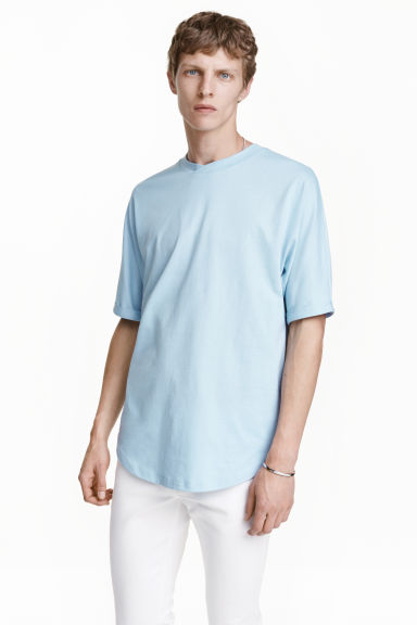 Cotton T-shirt - Light blue - Men | H&M CN 1