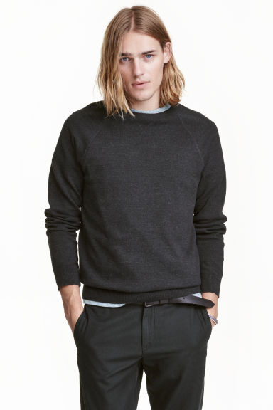 Fine-knit jumper - Black marl - Men | H&M CN 1