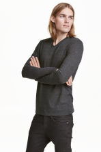 Long-sleeved T-shirt Slim fit - Black marl - Men | H&M CN 1