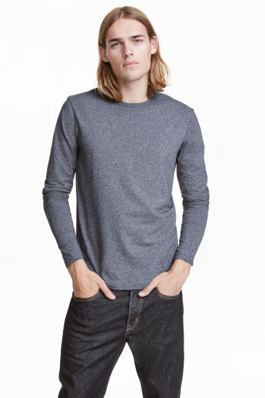 Long-sleeved T-shirt - Dark blue marl - Men | H&M CN 1