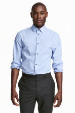 Shirt in premium cotton - Light blue/Spotted - Men | H&M CN 1