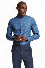 Denim shirt in premium cotton - Denim blue - Men | H&M CN 1