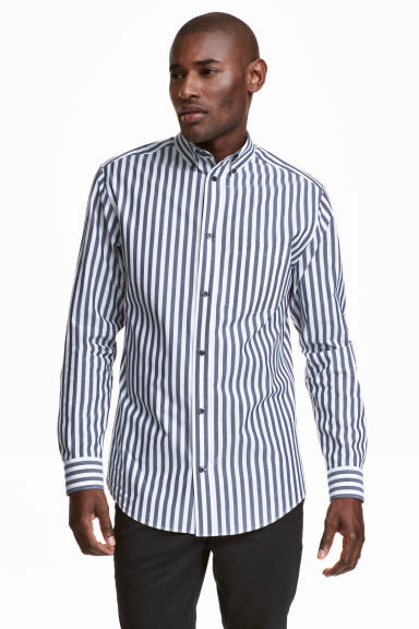 Shirt in premium cotton - White/Dark blue/Striped - Men | H&M CN 1