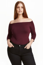 H&M+ Off-the-shoulder top - Burgundy - Ladies | H&M CN 1