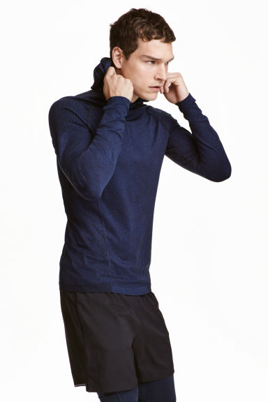 Seamless hooded running top - Dark blue marl - Men | H&M CN 1
