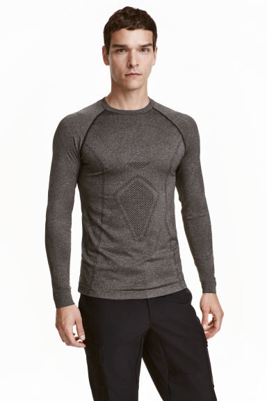Seamless base layer top - Dark grey marl - Men | H&M CA 1