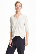 V-neck jersey top - Light grey marl - Ladies | H&M CN 1