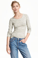 Long-sleeved jersey top - Grey marl - Ladies | H&M CN 1