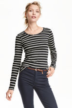 Long-sleeved jersey top - Dark grey/Striped - Ladies | H&M CN 1