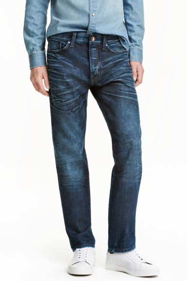 Straight Regular Jeans - Bleu foncé washed out - HOMME | H&M FR 1