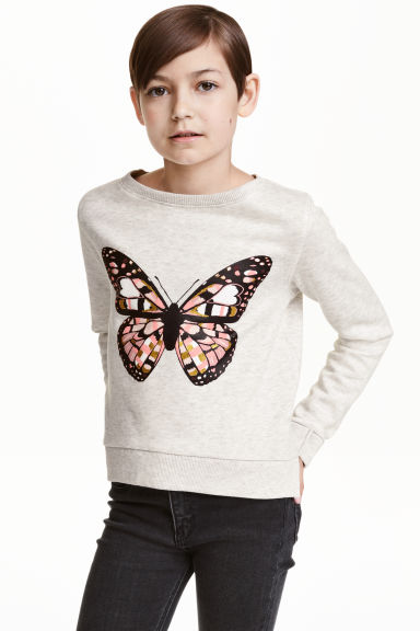Printed sweatshirt - Light grey marl/Butterfly - Kids | H&M CN 1