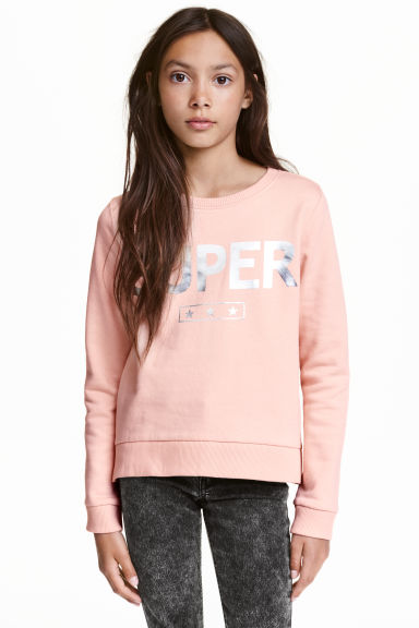 Printed sweatshirt - Powder pink - Kids | H&M CN 1