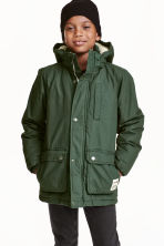 Padded parka - Dark green - Kids | H&M CN 1