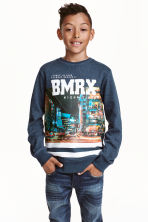 Printed sweatshirt - Dark blue marl - Kids | H&M CN 1