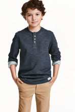 Henley shirt - Dark blue marl - Kids | H&M CN 1