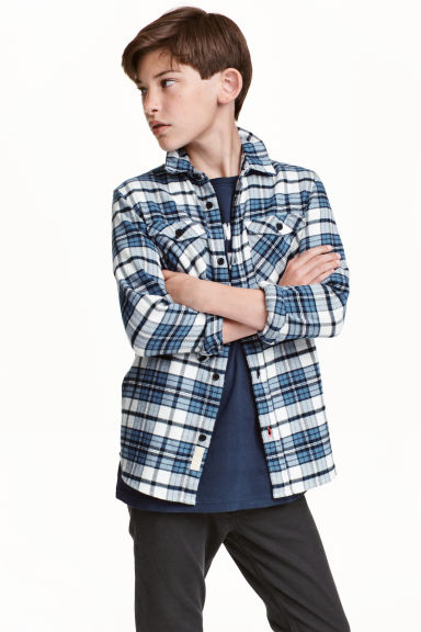 Checked flannel shirt - Blue - Kids | H&M CN 1