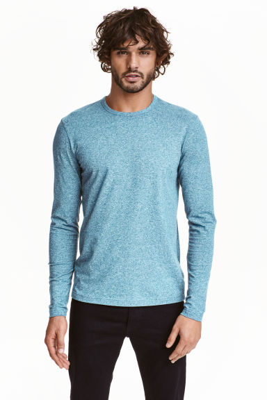 Long-sleeved T-shirt - Light blue marl - Men | H&M CN 1