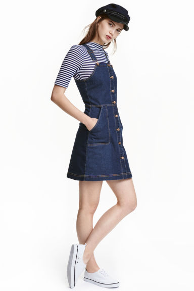 Denim dungaree dress - Dark denim blue - Ladies | H&M CN 1
