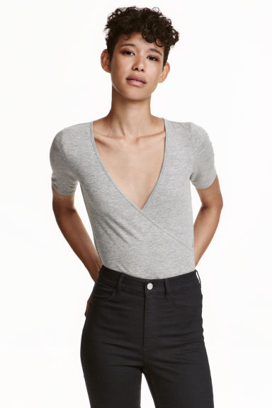 Wrapover body - Grey marl - Ladies | H&M CN 1