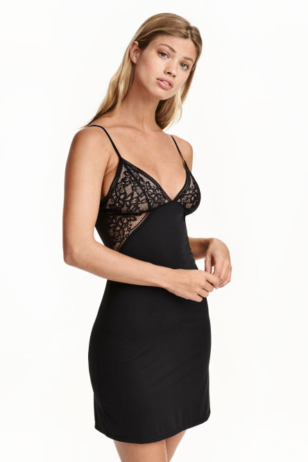 Microfibre and lace nightslip