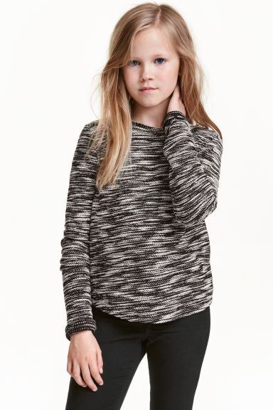 Jumper in a textured knit - Black marl - Kids | H&M CN 1