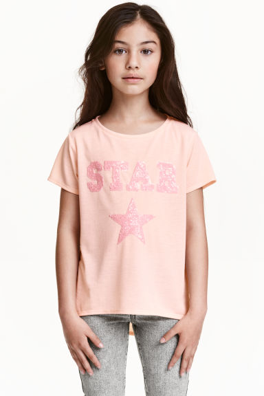 Jersey top - Light pink/Star - Kids | H&M CN 1