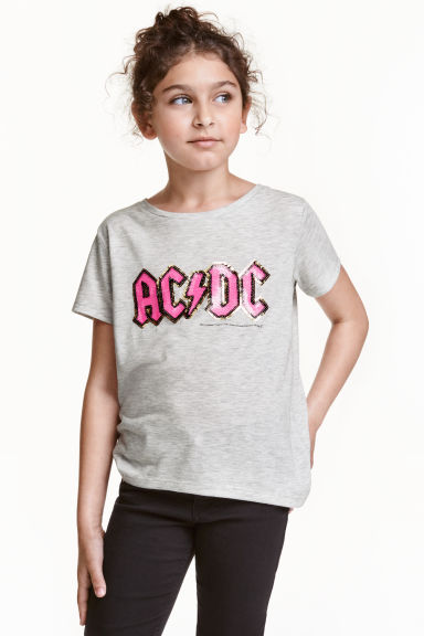 Sequined jersey top - Grey AC/DC - Kids | H&M CN