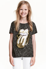 Sequined jersey top - Black/Rolling Stones - Kids | H&M CN 1