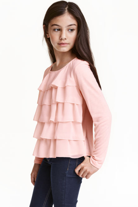 Long-sleeved tiered top