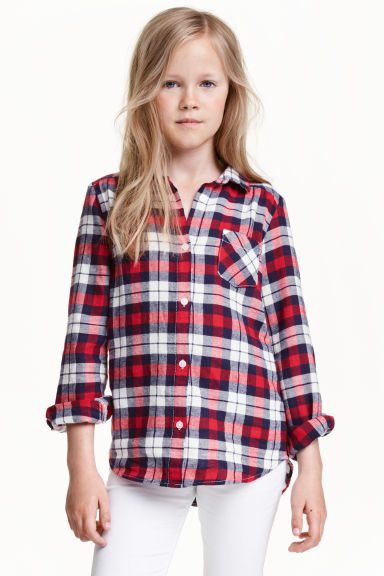 Flannel shirt - Red/Checked - Kids | H&M CN 1