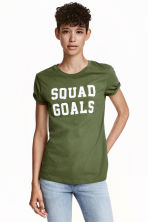 T-shirt with a motif - Green - Ladies | H&M GB 1