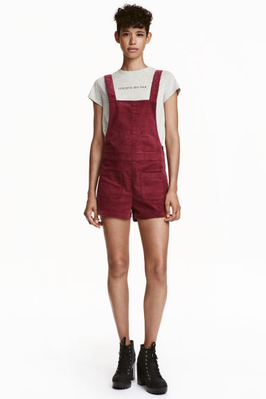 Dungaree shorts - Dark red - Ladies | H&M CN 1