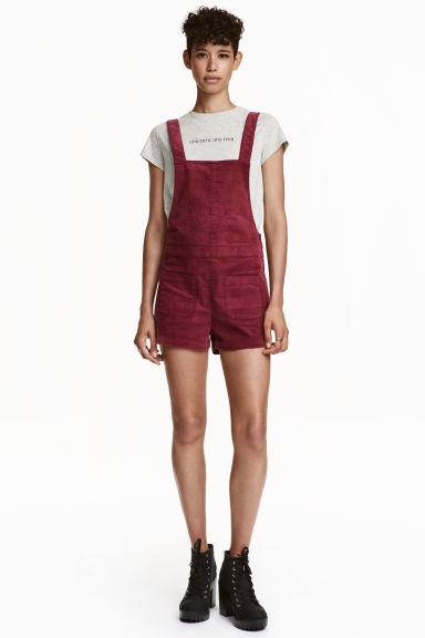 Dungaree shorts - Dark red - Ladies | H&M GB