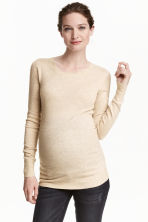 MAMA Fine-knit jumper - Light beige marl - Ladies | H&M CN 1