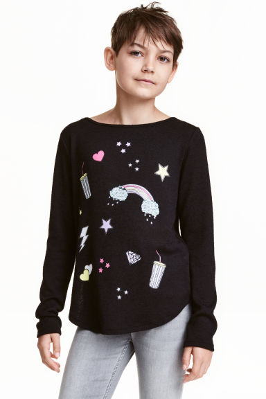 Fine-knit jumper - Black - Kids | H&M CN 1