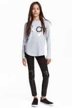 Treggings - Black/Imitation leather - Kids | H&M CN 1