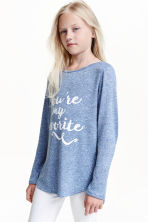 Fine-knit jumper - Blue marl -  | H&M CN 1
