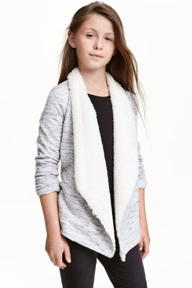 Pile-lined cardigan - Grey marl - Kids | H&M CN 1