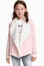 Pile-lined cardigan - Light pink marl - Kids | H&M CN 1