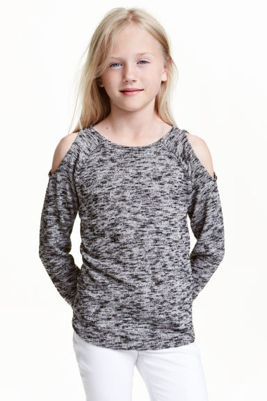 Cold shoulder jumper - Dark grey marl - Kids | H&M CN