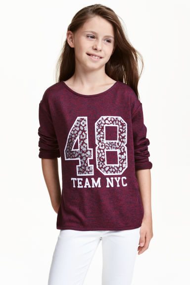 Knitted printed jumper - Burgundy marl - Kids | H&M CN 1