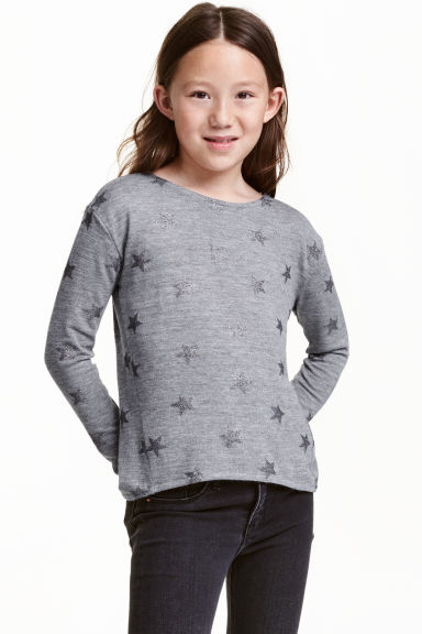 Knitted printed jumper - Dark grey/Stars - Kids | H&M CN 1