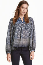 Patterned blouse - Dark blue - Ladies | H&M CN 1