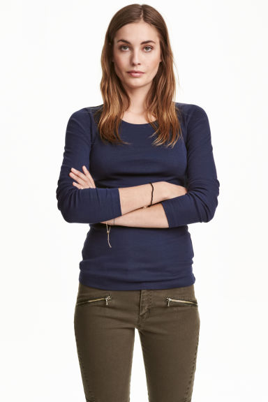 Long-sleeved jersey top - Dark blue - Ladies | H&M CN 1