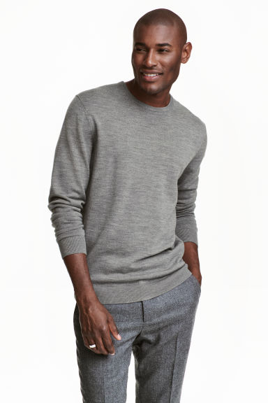 Merino wool jumper - Grey marl - Men | H&M CN 1